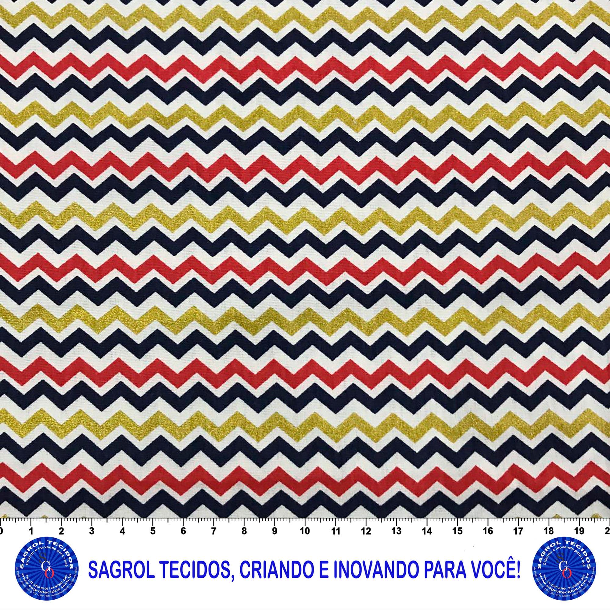 TECIDO TRICOLINE ESTAMPA CHEVRON COLORIDOS 100% ALGODÃO 1,50 DE LG