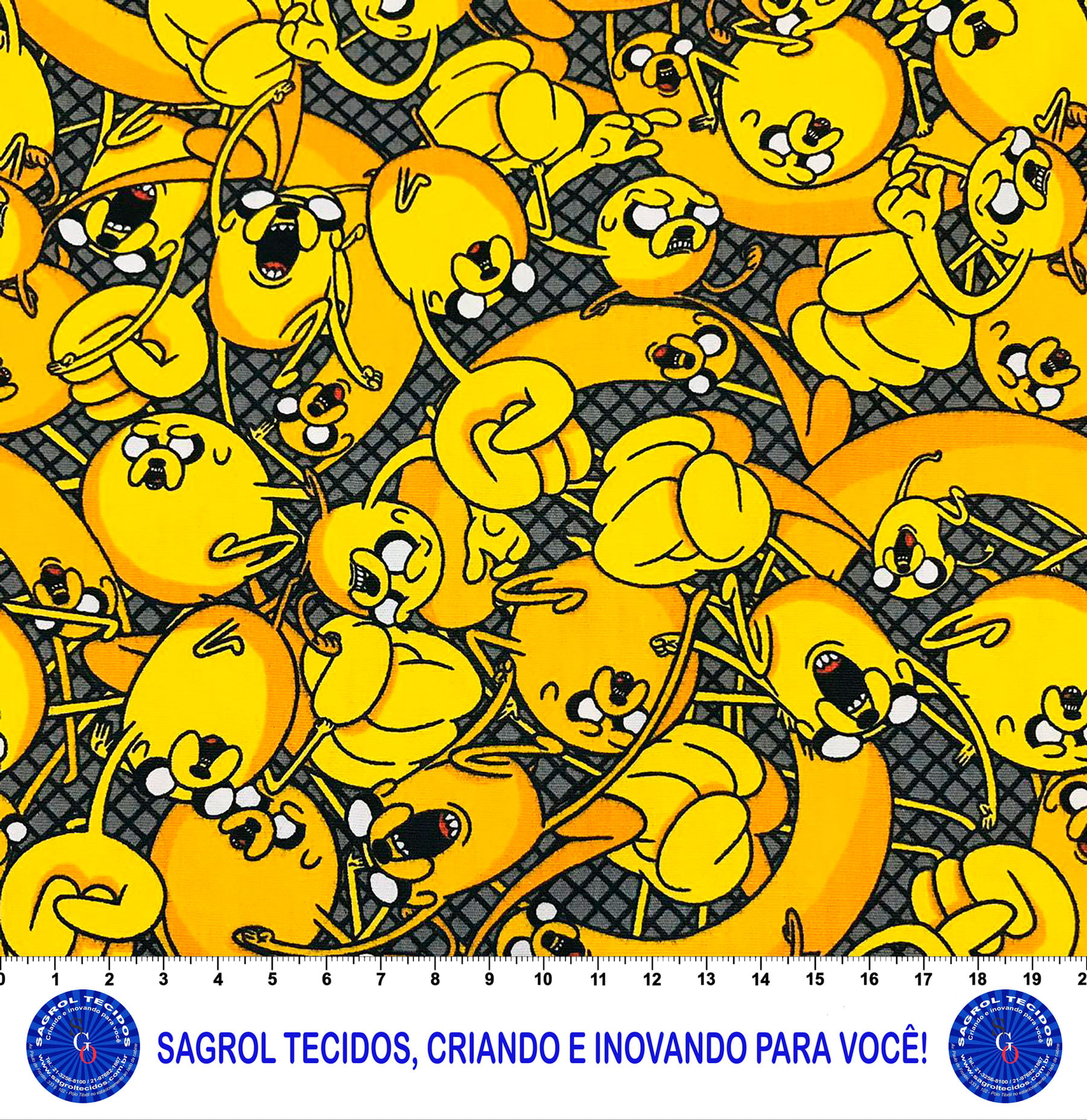 TECIDO TRICOLINE ESTAMPA HORA DE AVENTURA 100% ALGODÃO COM 1,50 LG 5EE67CC730C86