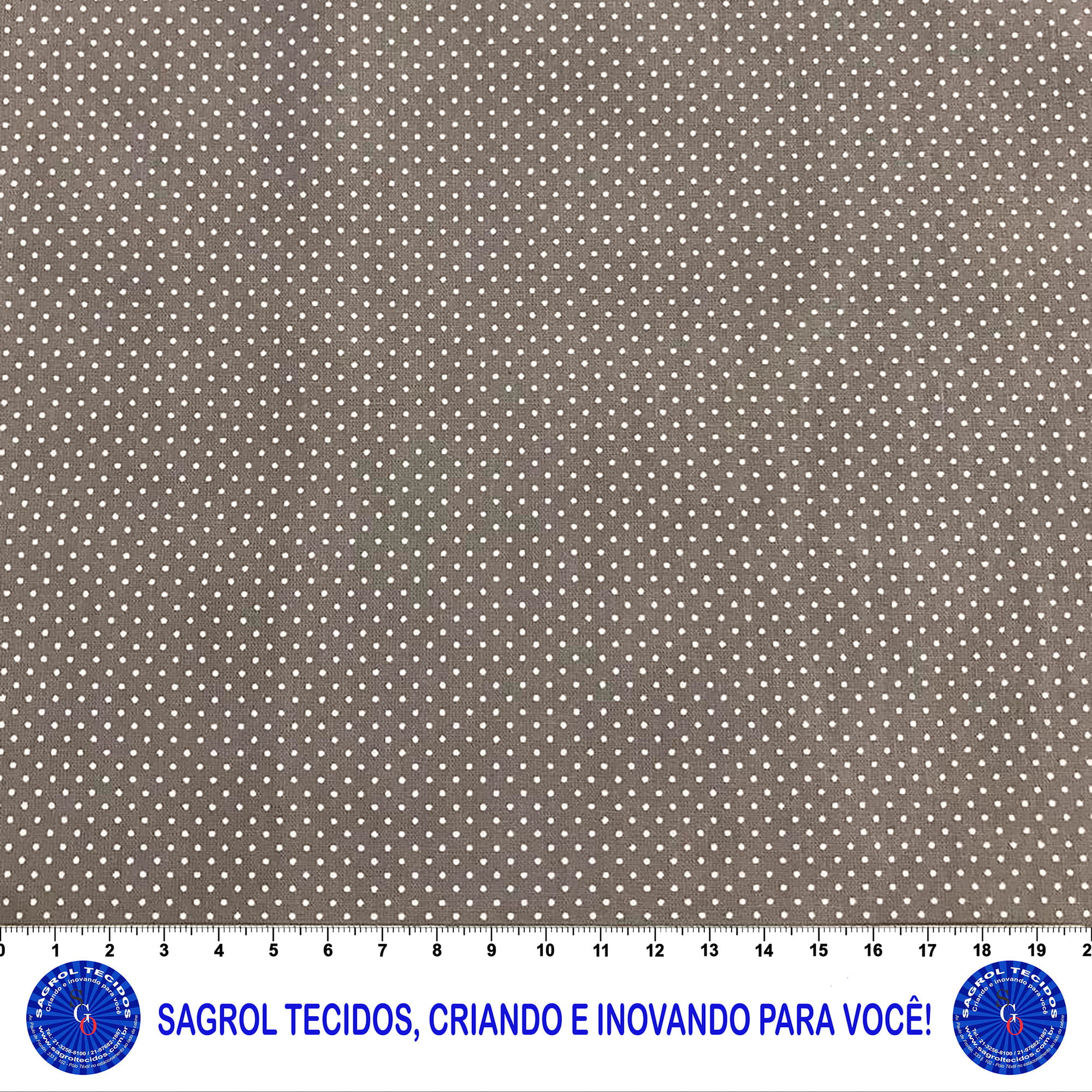 TECIDO TRICOLINE ESTAMPA POÁ ALFINETE 1MM BRANCO FUNDO CINZA CHUMBO 100% ALGODÃO COM 1,50 LG