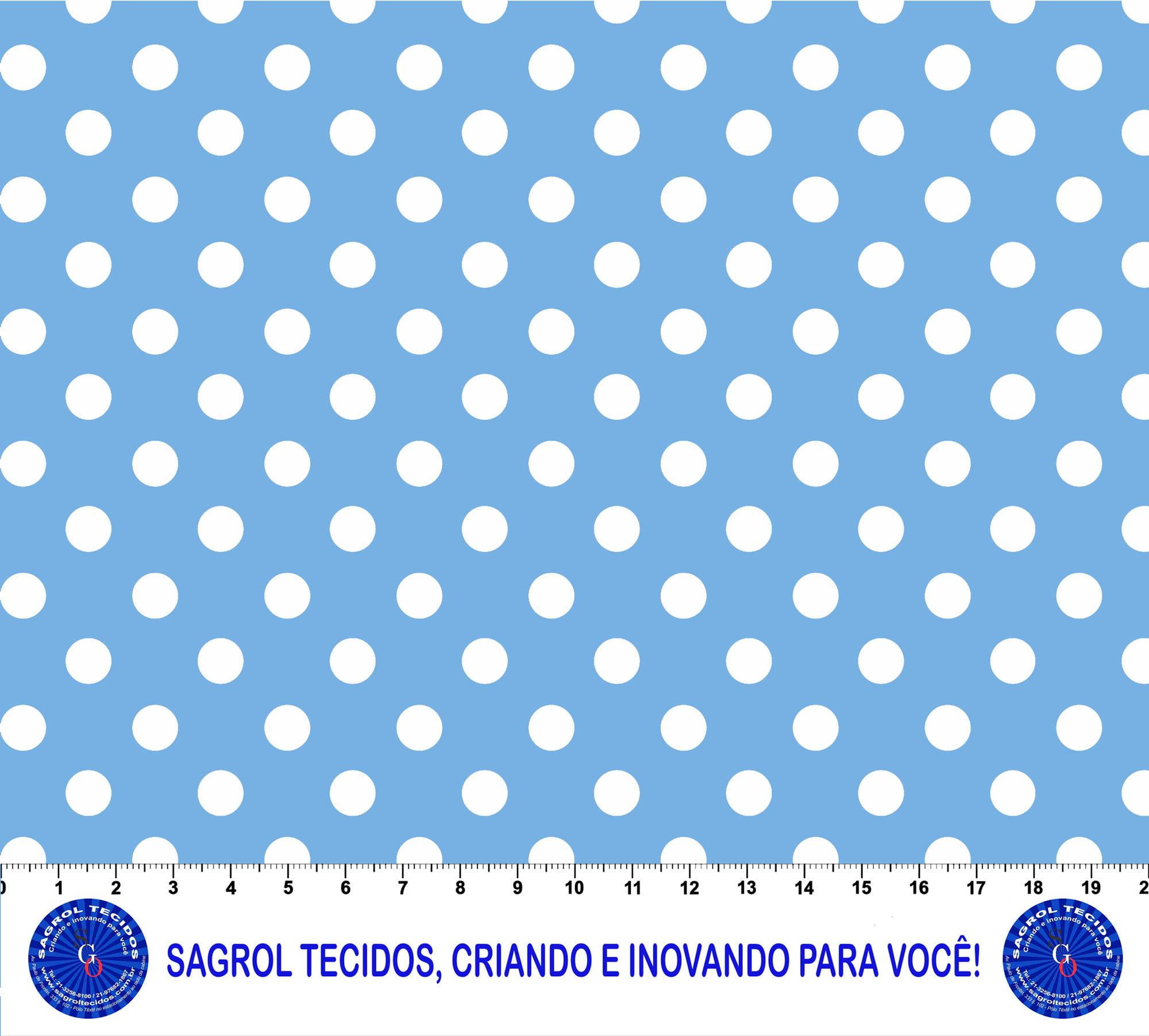 TECIDO TRICOLINE ESTAMPA POÁ CONFETE BRANCO 8 MM FUNDO AZUL BEBÊ 100% ALGODÃO COM 1,50 LG - REF. 578