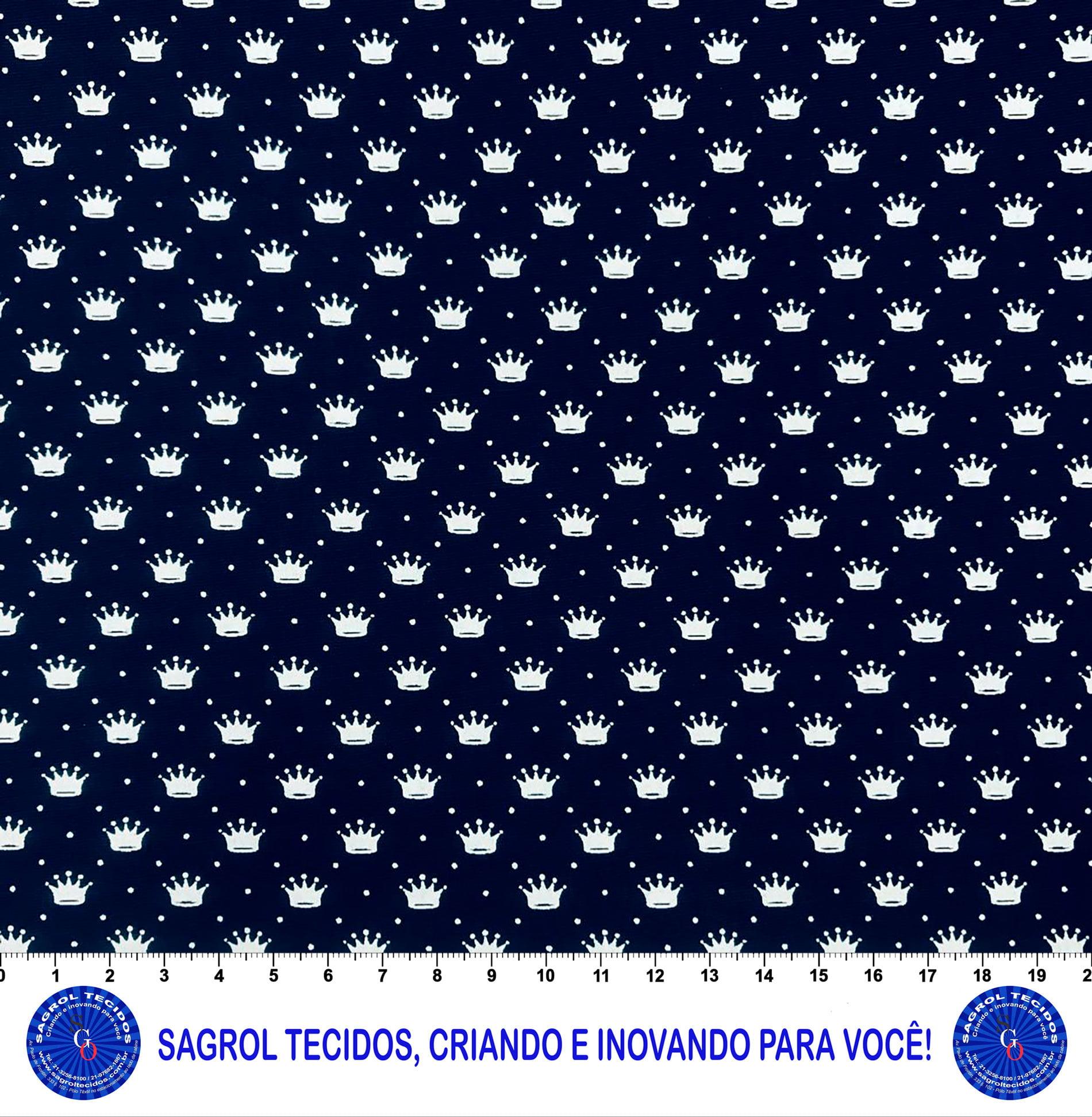 TECIDO TRICOLINE ESTAMPA COROAS BRANCAS FUNDO MARINHO 100% ALGODÃO COM 1,50 LG 5EE6A76646428