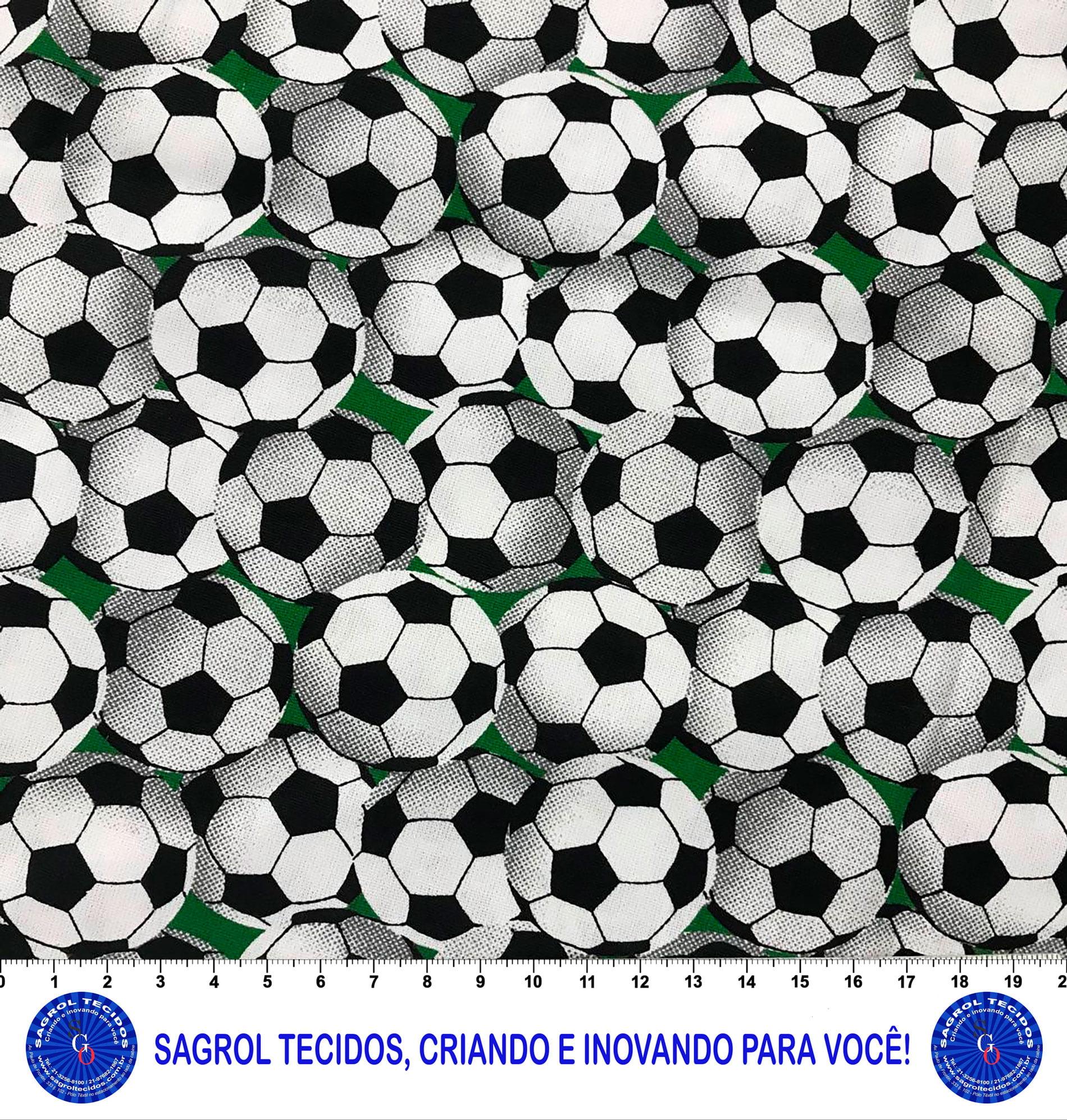 TECIDO TRICOLINE ESTAMPADA BOLAS DE FUTEBOL 100% ALGODÃO COM 1,60 LG