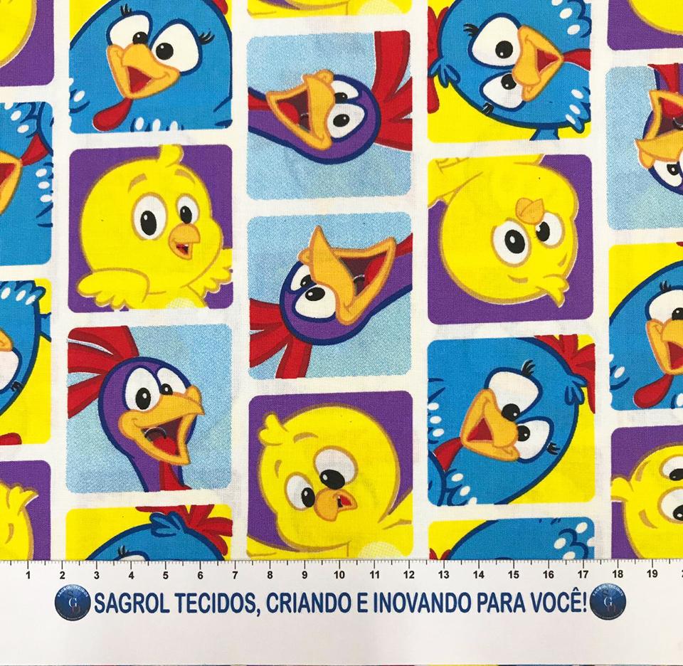 TECIDO TRICOLINE ESTAMPADA GALINHA PINTADINHA - REF. 356