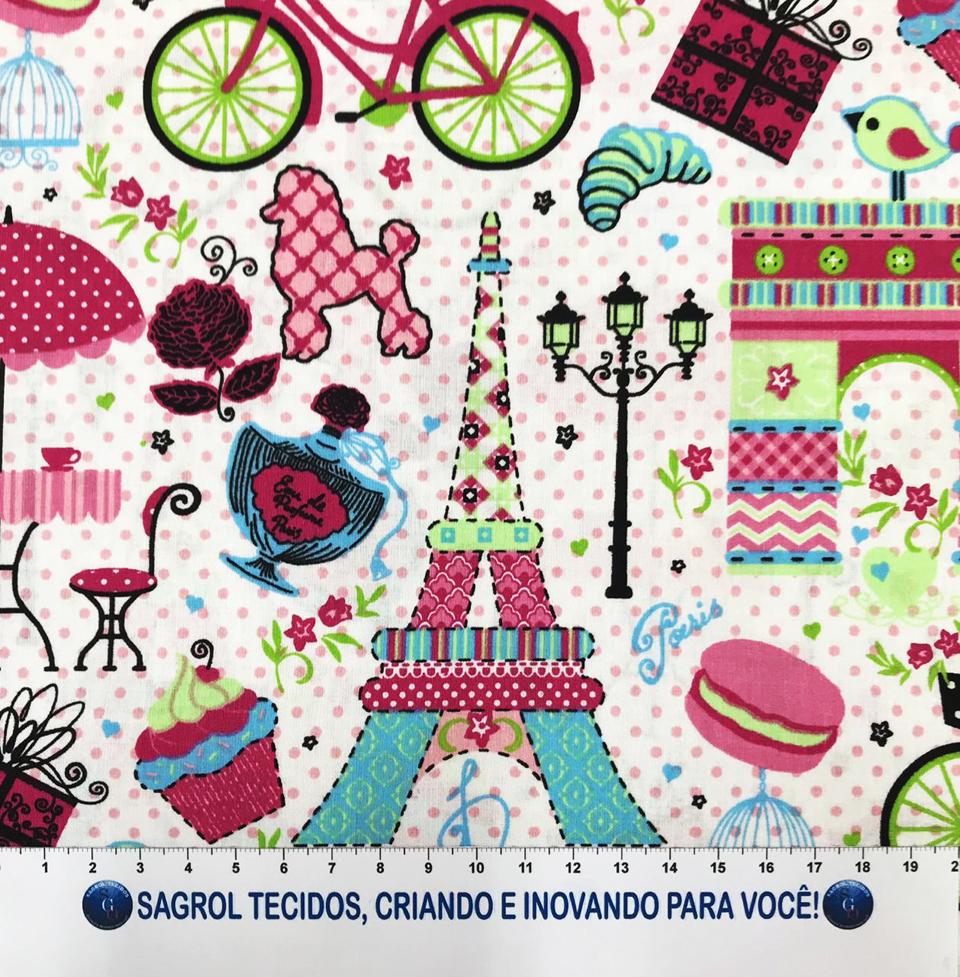 TECIDO TRICOLINE ESTAMPADA PARIS