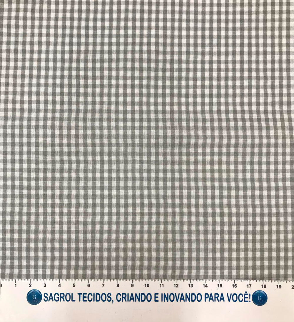TECIDO TRICOLINE FIO-TINTO VICHY XADREZ 8XM - CINZA - 100% ALGODÃO COM 1,50 LG - REF. 707