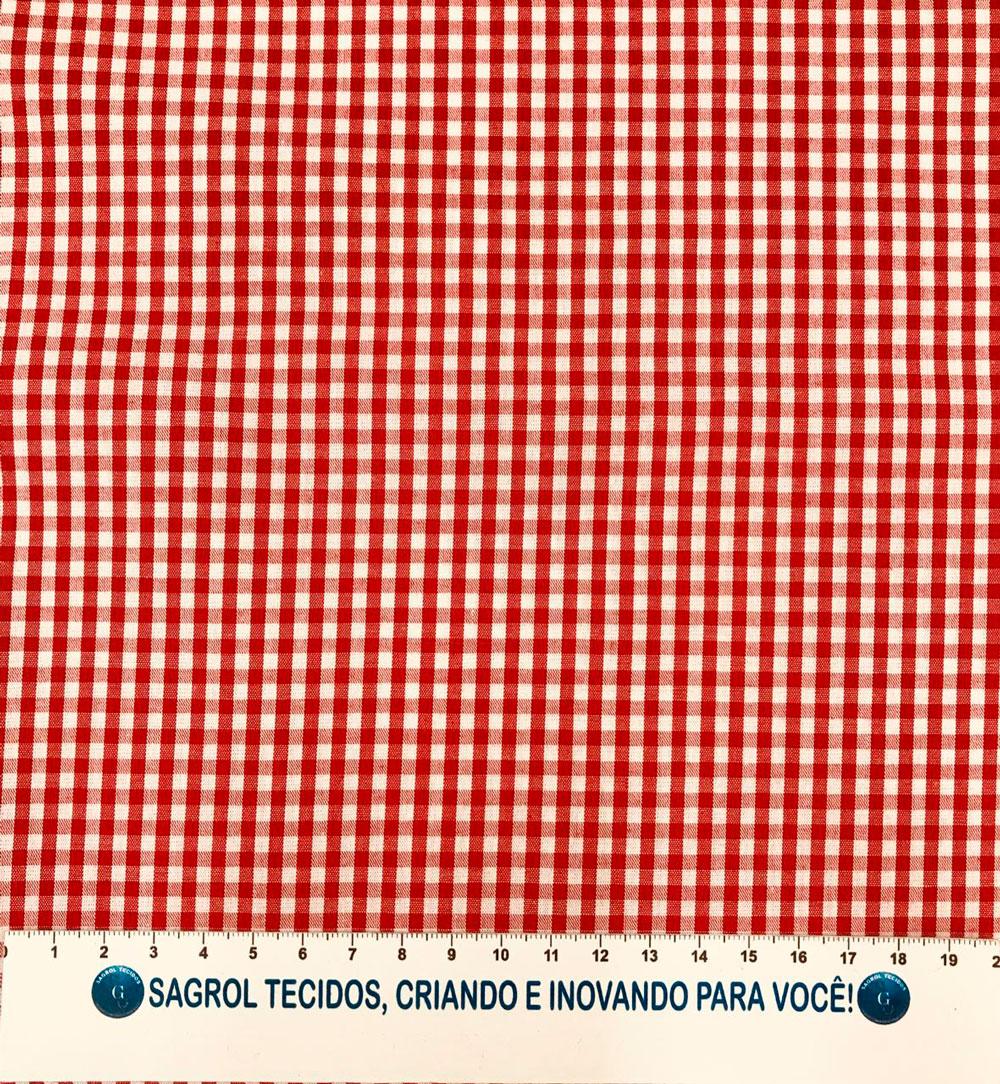 TECIDO TRICOLINE FIO-TINTO VICHY XADREZ 9XM - VERMELHO - 100% ALGODÃO COM 1,50 LG - REF. 710